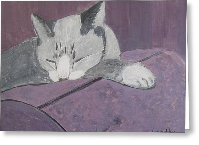 Purple Couch Greeting Cards - Sleepy Greeting Card by Lou Belcher