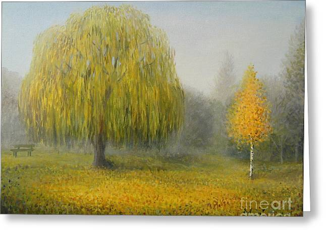 Meadow Willows Greeting Cards - Sleepy Morning Greeting Card by Kiril Stanchev