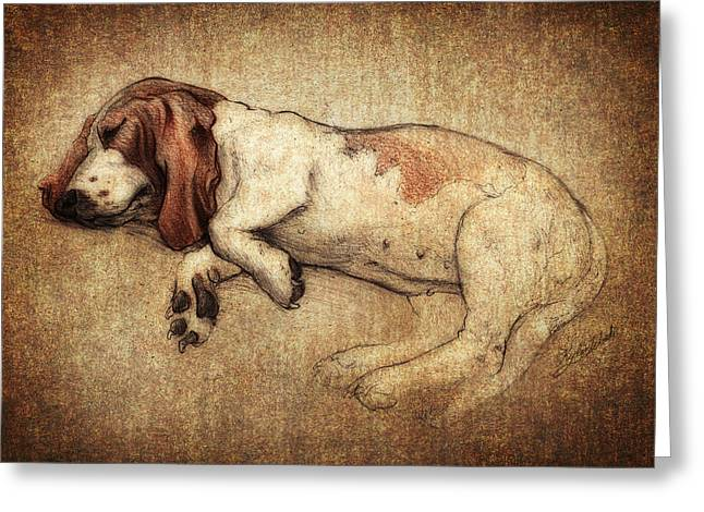 Puppy Digital Greeting Cards - Sleepy Penny Greeting Card by Kyle Wood