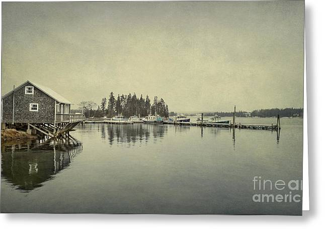Rural Maine Greeting Cards - Sleepy Shores Greeting Card by Evelina Kremsdorf