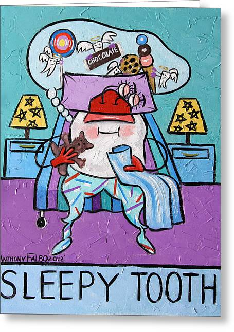 Sleepy Greeting Cards - Sleepy Tooth Greeting Card by Anthony Falbo