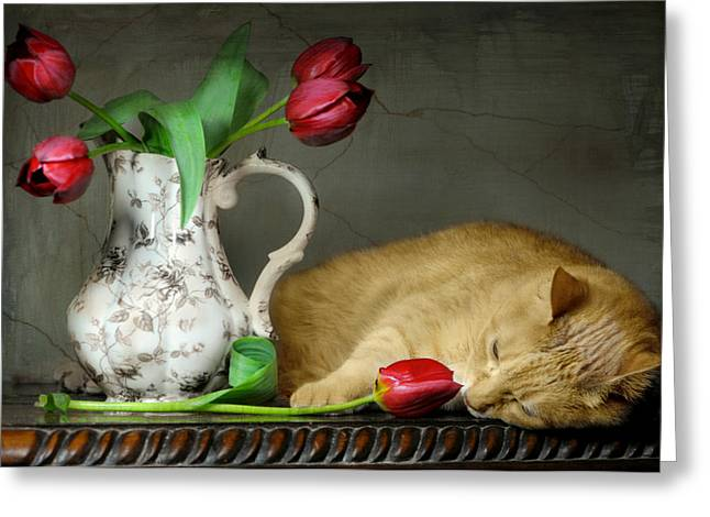 Still Life With Pitcher Greeting Cards - Sleepy Tulips Greeting Card by Diana Angstadt