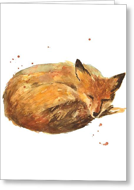 Fox Paintings Greeting Cards - Sleepyhead Greeting Card by Alison Fennell