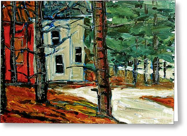 Winter Storm Paintings Greeting Cards - SLEET and RAIN at the MOCK PLACE Greeting Card by Charlie Spear