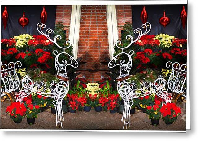 Struckle Greeting Cards - Sleigh And Reindeer Greeting Card by Kathleen Struckle