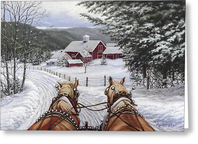 Horses Paintings Greeting Cards - Sleigh Bells Greeting Card by Richard De Wolfe