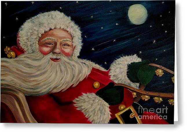 Fur Trim Greeting Cards - Sleigh Bells Ring Greeting Card by Julie Brugh Riffey