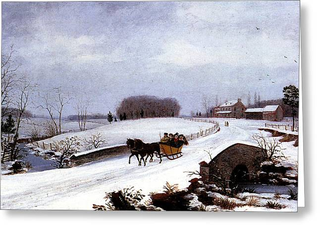 Wintry Greeting Cards - Sleigh in Winter Greeting Card by Thomas Birch