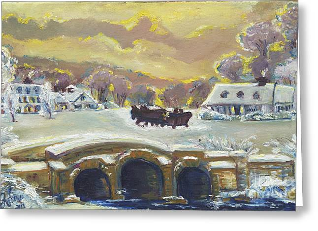 Sleigh Ride By The Creek Greeting Card by Helena Bebirian