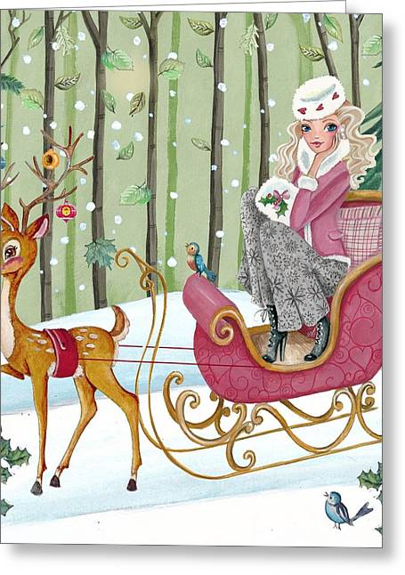 Cute Mixed Media Greeting Cards - Sleigh ride Greeting Card by Caroline Bonne-Muller