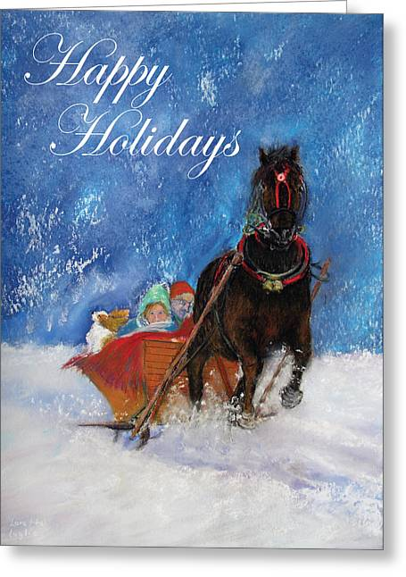 Spaniel Pastels Greeting Cards - Sleigh Ride Holiday Card Greeting Card by Loretta Luglio