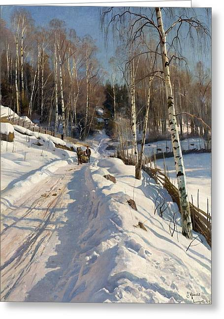 Monsted Greeting Cards - Sleigh ride on a sunny winter day Greeting Card by Peder Mork Monsted