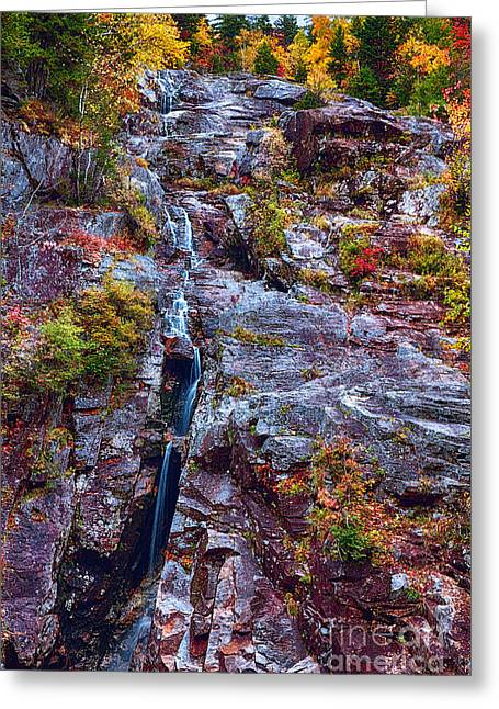 Crawford County Greeting Cards - Slender Ribbon of Cascading Water Greeting Card by George Oze
