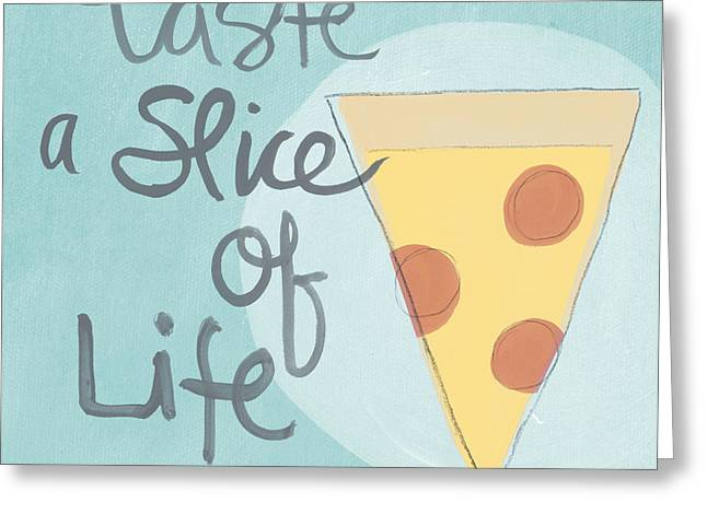 Dine Mixed Media Greeting Cards - Slice of Life Greeting Card by Linda Woods