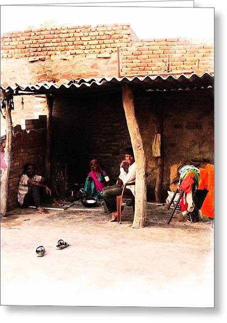 Candid Family Portraits Greeting Cards - Slice of Life Mud Oven Chulha Tandoor Indian Village Rajasthani 1b Greeting Card by Sue Jacobi