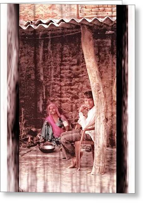 Candid Family Portraits Greeting Cards - Slice of Life Mud Oven Chulha Tandoor Indian Village Rajasthani 1c Greeting Card by Sue Jacobi