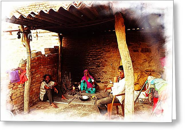 Candid Family Portraits Greeting Cards - Slice of Life Mud Oven Chulha Tandoor Indian Village Rajasthani 1f Greeting Card by Sue Jacobi