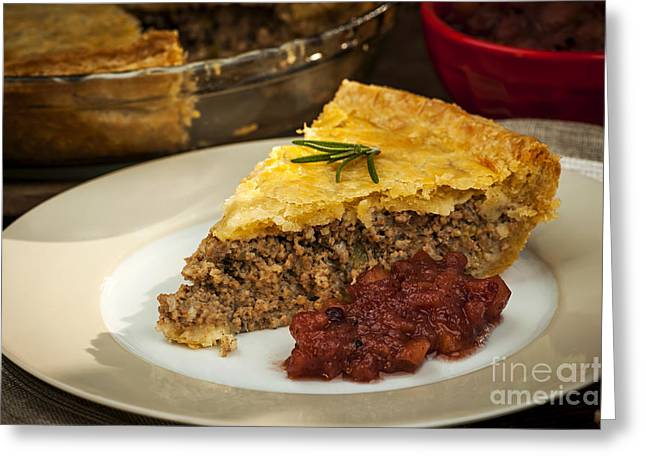 Portion Greeting Cards - Slice of meat pie Tourtiere Greeting Card by Elena Elisseeva