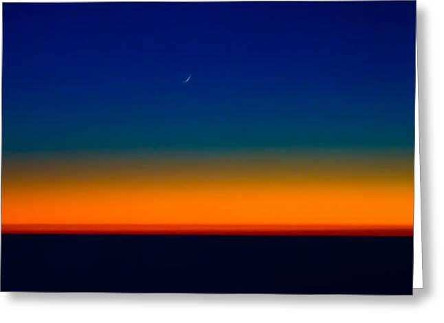 Moonrise Greeting Cards - Slice of Moon in the Night Sky Greeting Card by Don Schwartz