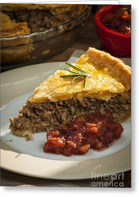 Portion Greeting Cards - Slice of Tourtiere meat pie  Greeting Card by Elena Elisseeva
