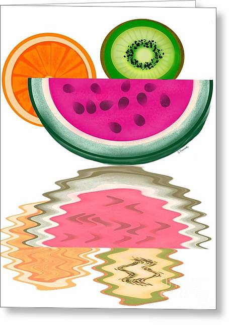 Watermelon Greeting Cards - Sliced Greeting Card by Christine Fournier