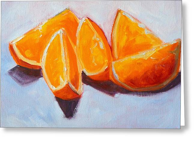 Tangy Paintings Greeting Cards - Sliced Greeting Card by Nancy Merkle