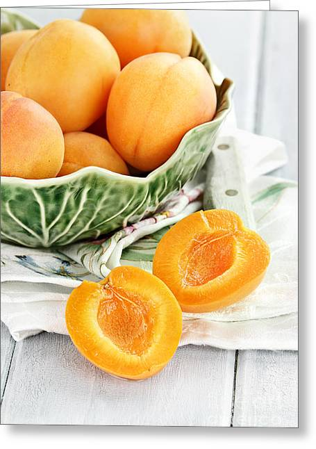Wooden Bowl Greeting Cards - Sliced Nectarines  Greeting Card by Stephanie Frey