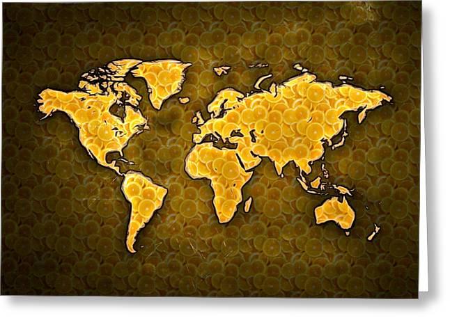 World Digital Map Greeting Cards - Sliced Oranges World Map digital painting Greeting Card by Georgeta Blanaru