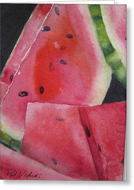 Watermelon Greeting Cards - Sliced Greeting Card by Pat Vickers