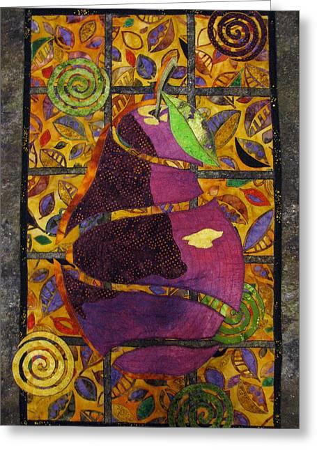 Pear Tapestries - Textiles Greeting Cards - Sliced Pear Greeting Card by Lynda K Boardman