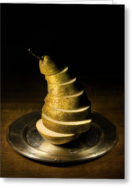Lead The Life Greeting Cards - Sliced pear on the silver plate Greeting Card by Jaroslaw Blaminsky