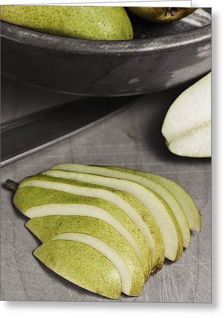 Pear Pyrography Greeting Cards - Sliced Pears Greeting Card by Topher Mack