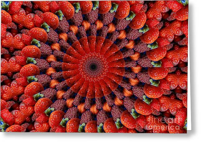 Tasteful Mixed Media Greeting Cards - Sliced strawberries kaleidoscope Greeting Card by Dana Hermanova