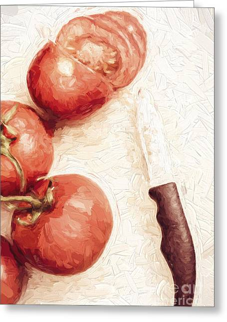 Sliced Tomatoes. Vintage Cooking Artwork Greeting Card by Jorgo Photography - Wall Art Gallery