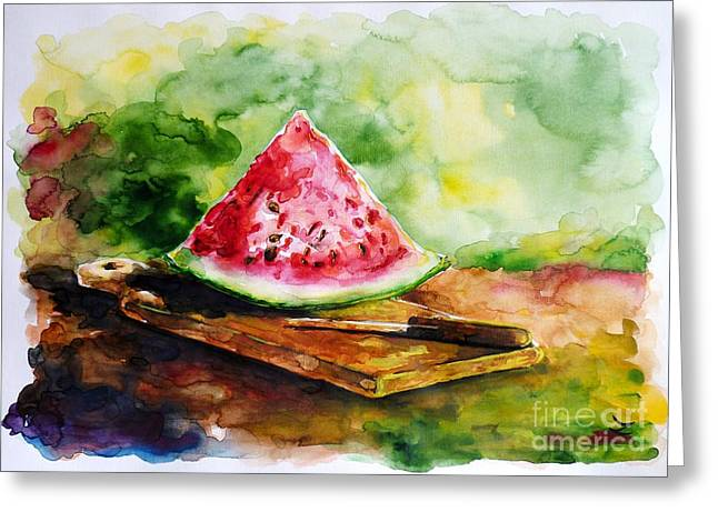 Watermelon Greeting Cards - Sliced Watermelon Greeting Card by Zaira Dzhaubaeva
