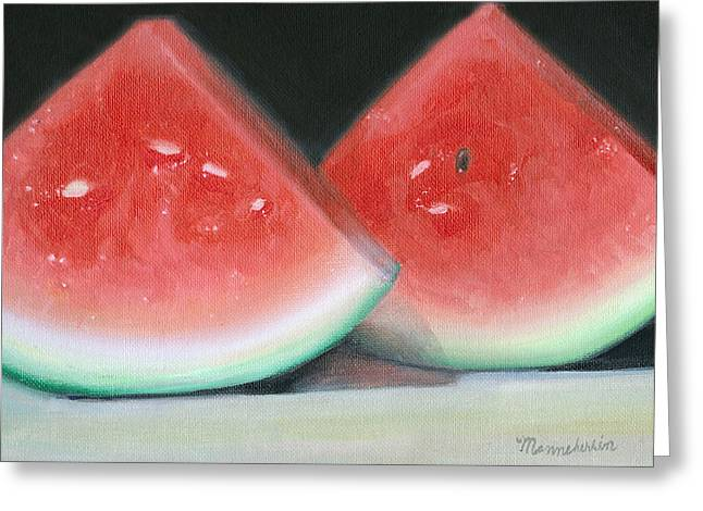 Watermelon Greeting Cards - Slices of Summer Greeting Card by Melissa Herrin