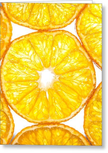 Slices Orange. Greeting Card by Slavica Koceva