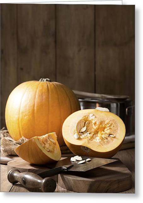 Saucepan Greeting Cards - Slicing Pumpkins Greeting Card by Amanda And Christopher Elwell