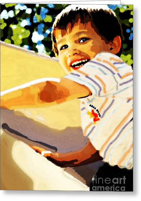 Stein Greeting Cards - Slide At The Park Greeting Card by Nancy E Stein