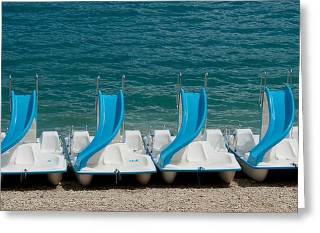 Croix Greeting Cards - Slide Boats On Beach, Lac De Sainte Greeting Card by Panoramic Images