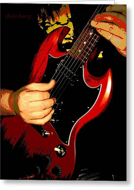 Red Gibson Guitar Greeting Card by Chris Berry
