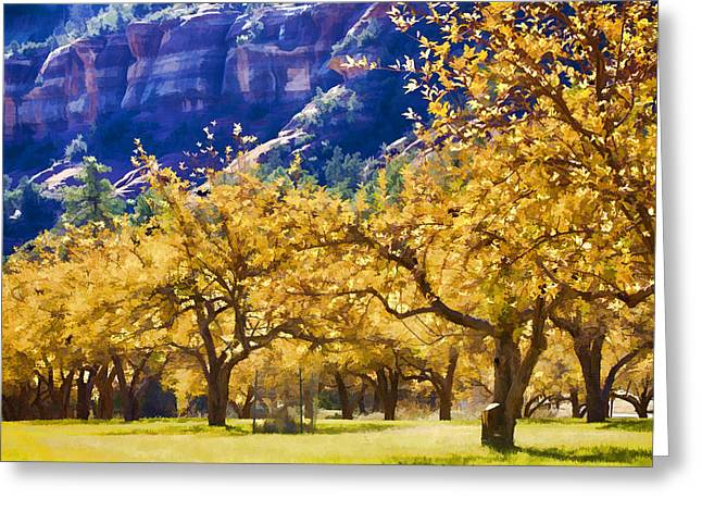 Slide Rock Apples Falling Greeting Card by Scott Campbell