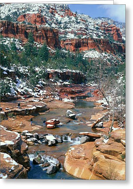 Snow Capped Greeting Cards - Slide Rock Creek In Wintertime, Sedona Greeting Card by Panoramic Images
