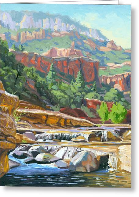 Oak Creek Greeting Cards - Slide Rock Greeting Card by Steve Simon