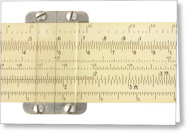 Mathematician Greeting Cards - Slide Rule Greeting Card by Jim Hughes