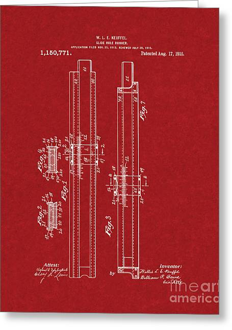 Slide Prints Digital Greeting Cards - Slide-rule Runner Patent - Burgundy Red Greeting Card by BJ Simpson