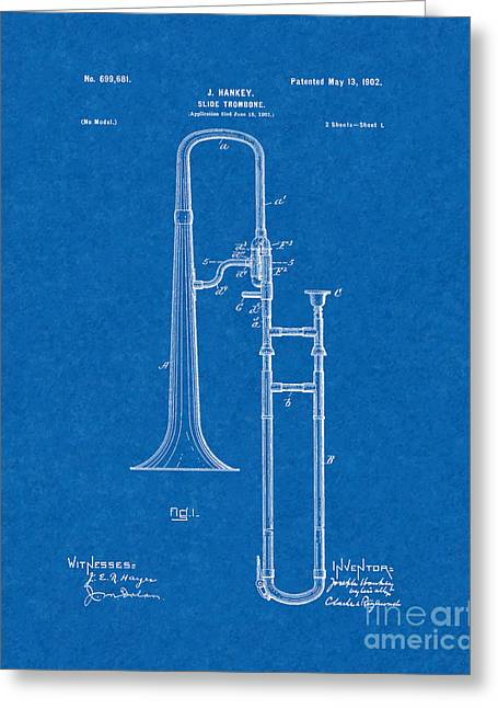 Slide Prints Digital Greeting Cards - Slide-trombone Patent - Blueprint Greeting Card by BJ Simpson