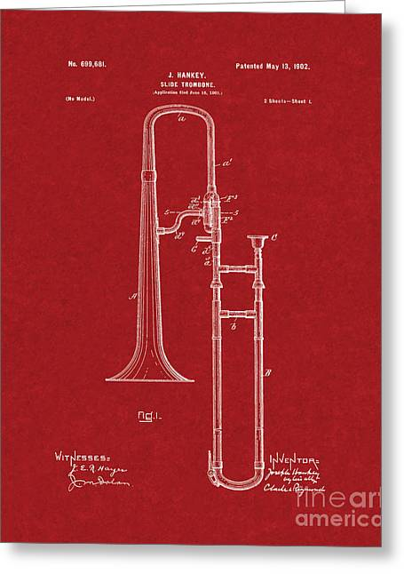 Slide Prints Digital Greeting Cards - Slide-trombone Patent - Burgundy Red Greeting Card by BJ Simpson