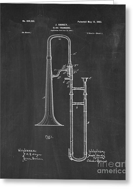 Slide Prints Digital Greeting Cards - Slide-trombone Patent - Chalkboard Greeting Card by BJ Simpson