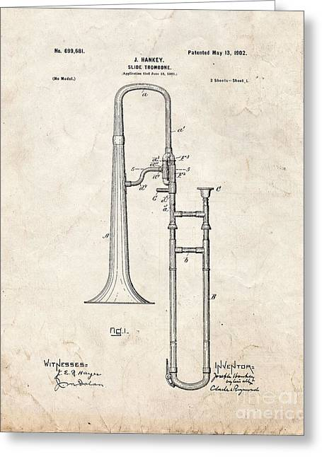 Slide Prints Digital Greeting Cards - Slide-trombone Patent - Old Look Greeting Card by BJ Simpson